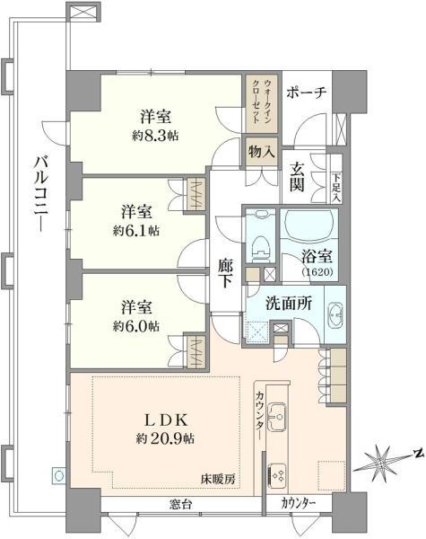 ブリリア成増アーバンテラスの間取図/10F/7,190万円/3LDK/92.47 m²