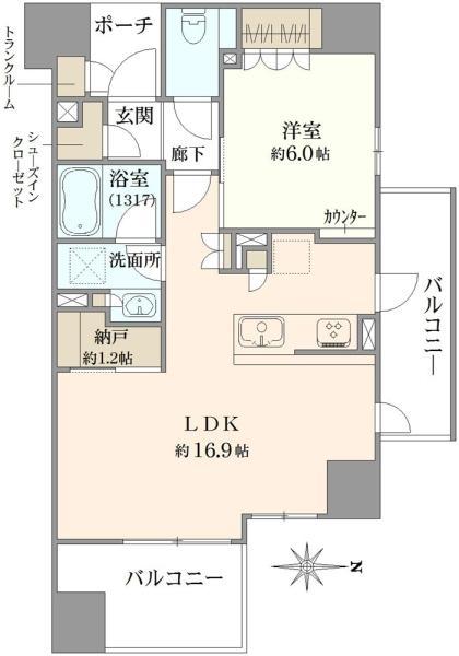 ブリリア成増ステーションフロントの間取図/7F/4,240万円/1LDK/54.25 m²