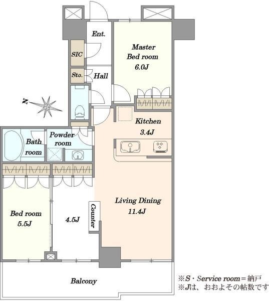 THE KOSUGI TOWER ザ・コスギタワーの間取図/5F/5,480万円/2LDK/68.84 m²