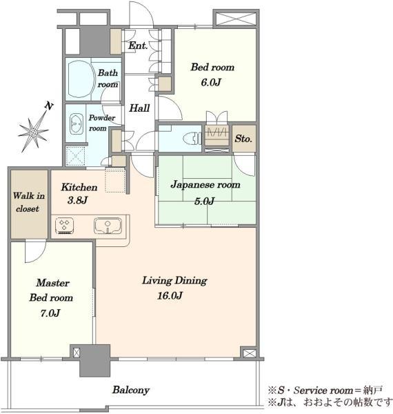 ザ・コスギタワーの間取図/44F/8,380万円/3LDK/83.66 m²