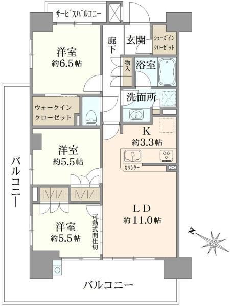 ザ・グランリバーフォート高砂の間取図/8F/4,730万円/3LDK/75.26 m²