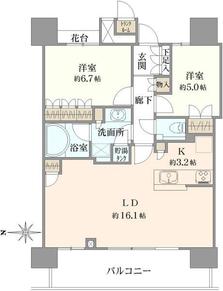 THE TOYOSU TOWERの間取図/15F/6,480万円/2LDK/68.16 m²