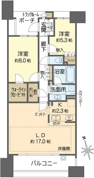 グランエスタの間取図/9F/6,980万円/2SLDK/80.56 m²