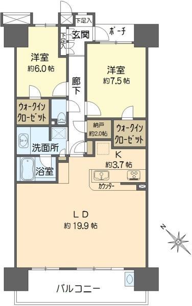 東京フロントコートの間取図/20F/7,480万円/2LDK/86.17 m²