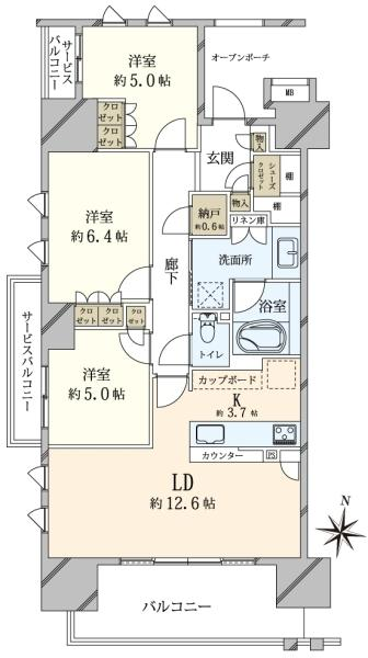 Brillia 辰巳 CANAL TERRACEの間取図/4F/4,900万円/3LDK/80.27 m²