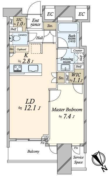 SKYZ TOWERGARDEN  スカイズ タワーガーデンの間取図/24F/5,180万円/1LDK/54.86 m²