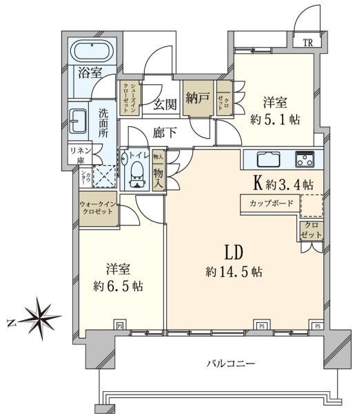 ベイズ タワーガーデンの間取図/4F/5,680万円/2LDK/68.28 m²