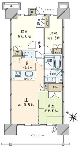 東京フロントコートの間取図/10F/5,180万円/3LDK/66.71 m²