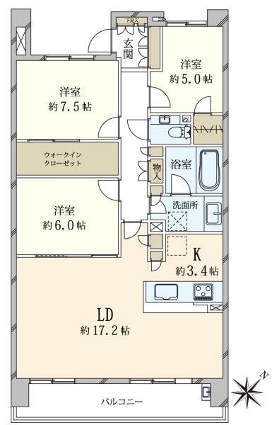 東京フロントコートの間取図/12F/6,850万円/3LDK/90.31 m²