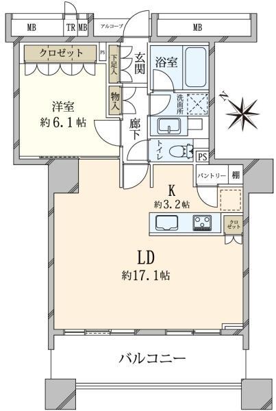 ブリリアマーレ有明 タワーガーデンの間取図/17F/5,080万円/1LDK/60.76 m²