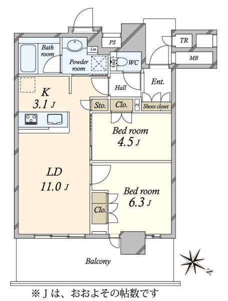 Brillia有明City Tower ブリリア有明シティタワーの間取図/31F/5,380万円/2LDK/55.92 m²