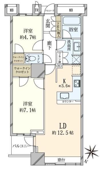 ブリリアマーレ有明 タワーガーデンの間取図/10F/5,380万円/2LDK/64.08 m²