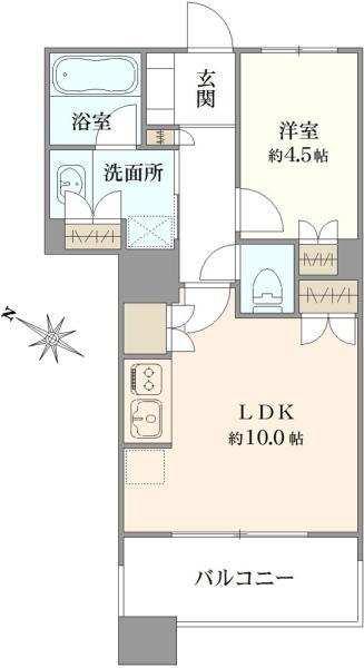 ブリリアマーレ有明タワーガーデン の間取図/8F/3,980万円/1LDK/40.8 m²