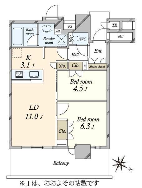Brillia有明City Tower ブリリア有明シティタワーの間取図/31F/5,280万円/2LDK/55.92 m²