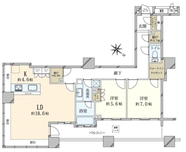 ブリリアマーレ有明 タワーガーデンの間取図/8F/8,180万円/2LDK/91.01 m²