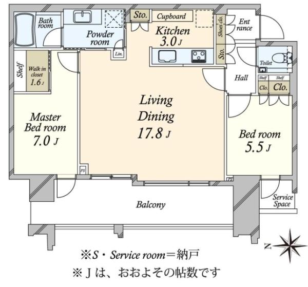 SKYZ TOWERGARDEN  スカイズ タワーガーデンの間取図/43F/8,780万円/2LDK/75.3 m²