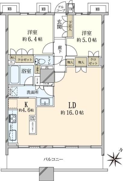 ブリリアマーレ有明 タワーガーデンの間取図/5F/6,300万円/2LDK/70.87 m²