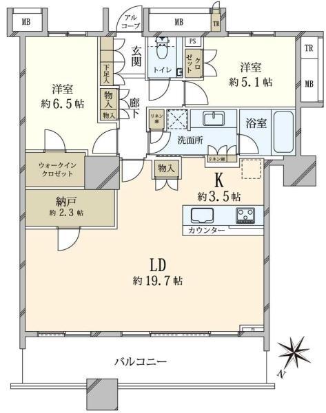 ブリリアマーレ有明 タワーガーデンの間取図/8F/7,380万円/2LDK/83.39 m²