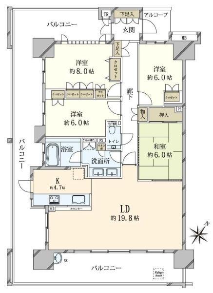 東京フロントコートの間取図/13F/9,180万円/4LDK/109.95 m²