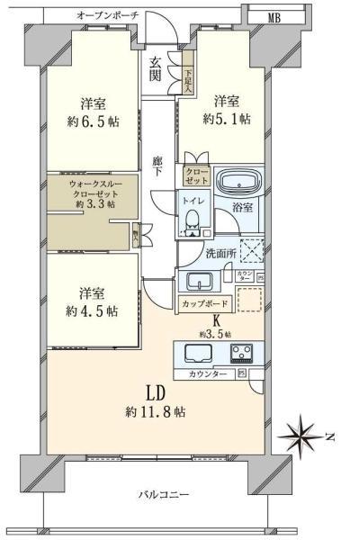 ブリリア辰巳キャナルテラスの間取図/4F/4,480万円/3LDK/74.34 m²