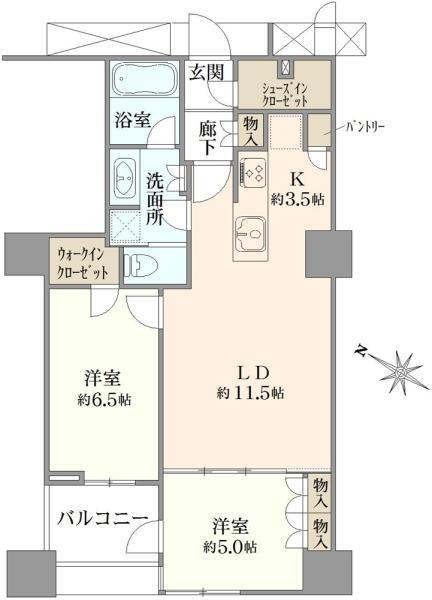 ブリリアマーレ有明タワーガーデン Brillia Mare有明の間取図/9F/5,280万円/2LDK/61.43 m²