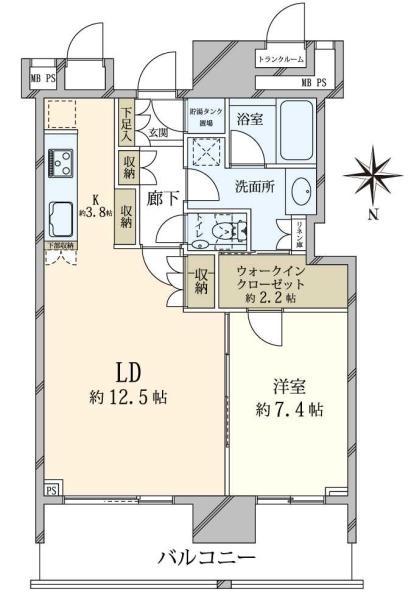 ザ・豊洲タワー THE TOYOSU TOWERの間取図/26F/5,580万円/1LDK/57.88 m²