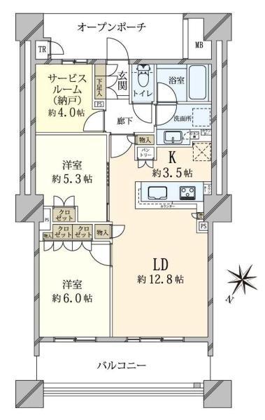 ブリリア有明スカイタワーの間取図/21F/5,880万円/2SLDK/69.3 m²