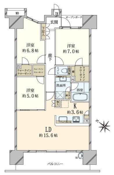 東京フロントコートの間取図/14F/6,980万円/3LDK/84.94 m²