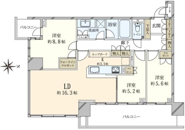 ベイズ タワーガーデン BAYZ TOWERGARDENの間取図/12F/9,180万円/3LDK/93.81 m²