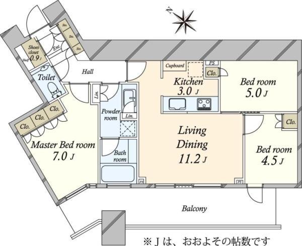 SKYZ TOWERGARDEN  スカイズ タワーガーデンの間取図/31F/7,980万円/3LDK/70.51 m²