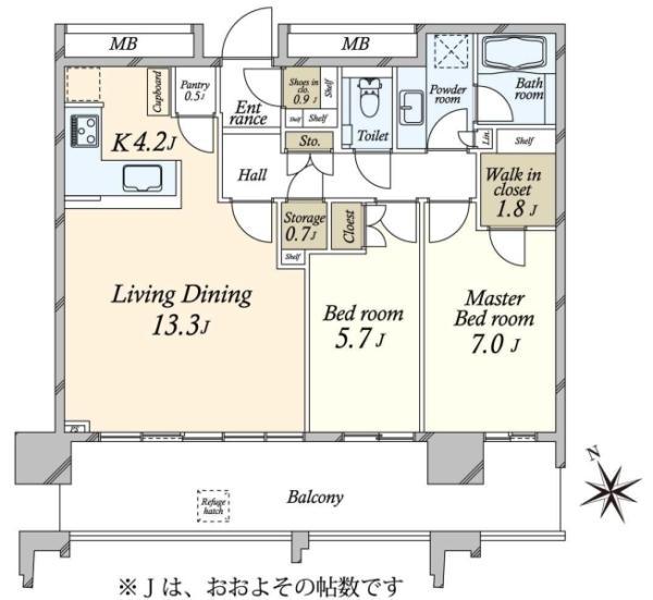 SKYZ TOWERGARDEN  スカイズ タワーガーデンの間取図/43F/8,250万円/2LDK/73.48 m²