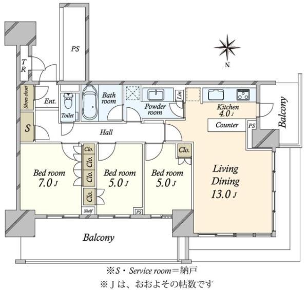 ベイズ タワーガーデン BAYZ TOWERGARDENの間取図/12F/7,880万円/3LDK/83.93 m²