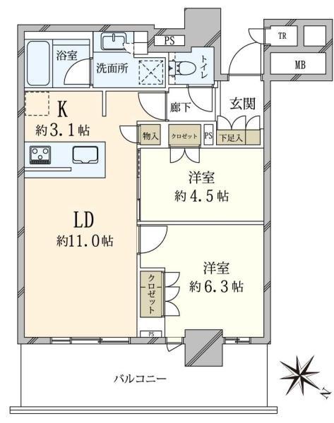 Brillia有明City Tower ブリリア有明シティタワーの間取図/11F/5,230万円/2LDK/55.92 m²