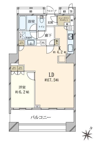 ブリリアマーレ有明 タワーガーデンの間取図/2F/5,180万円/1LDK/63.31 m²