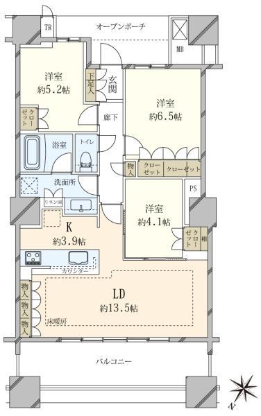 ブリリア有明スカイタワーの間取図/31F/7,980万円/3LDK/75.58 m²