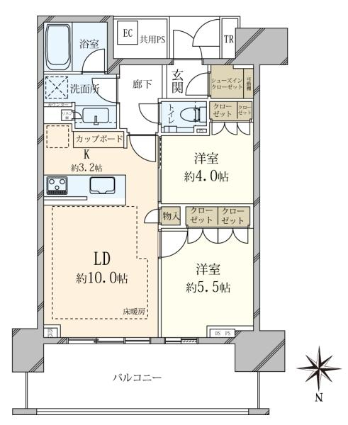 ベイズ タワーガーデンの間取図/23F/5,690万円/2LDK/55.58 m²
