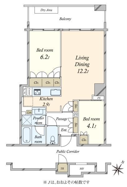 ブリリア有明スカイタワーの間取図/5F/4,950万円/2LDK/57.3 m²