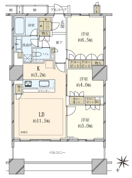 ブリリアマーレ有明 タワーガーデンの間取図/12F/6,250万円/3LDK/70.87 m²