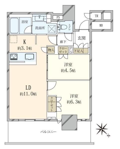 Brillia有明City Tower ブリリア有明シティタワーの間取図/23F/4,980万円/2LDK/55.92 m²