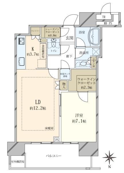 ザ・豊洲タワー THE TOYOSU TOWERの間取図/40F/5,980万円/1LDK/57.49 m²