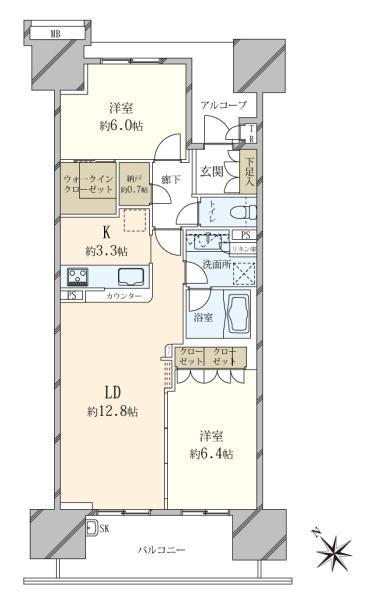 東京フロントコートの間取図/11F/5,980万円/2LDK/65.75 m²