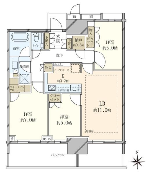 ベイズ タワーガーデンの間取図/3F/7,780万円/3LDK/74.81 m²