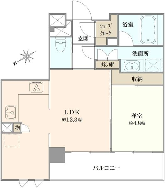 T-STYLIAの間取図/5F/3,980万円/1LDK/44.85 m²