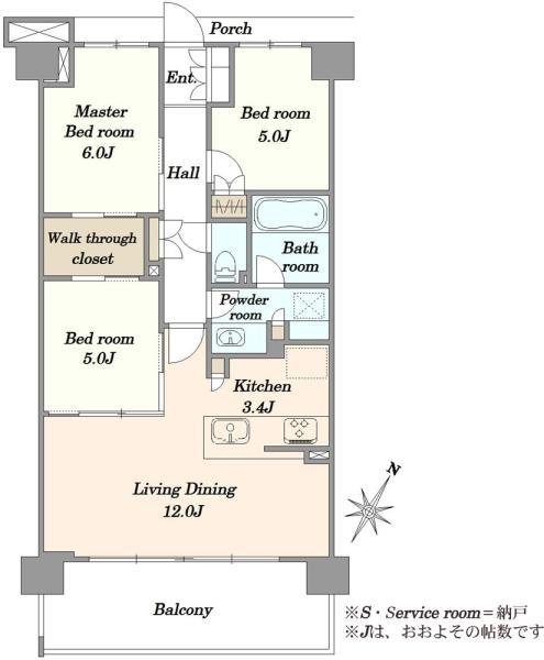 ブリリア都筑ふれあいの丘の間取図/4F/5,280万円/3LDK/70.68 m²