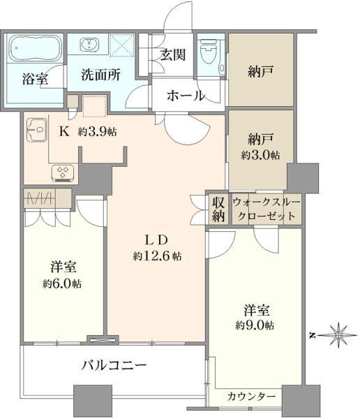 ラグナタワーの間取図/16F/5,880万円/2LDK/80.19 m²