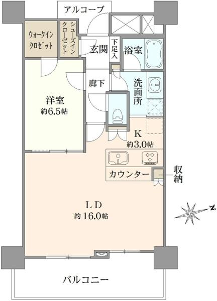 ブリリアタワー品川シーサイドの間取図/5F/3,750万円/1LDK/60.76 m²