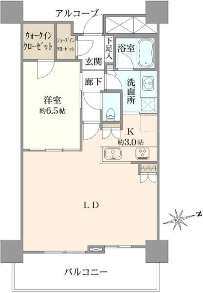 ブリリアタワー品川シーサイドの間取図/12F/4,080万円/1LDK/60.76 m²