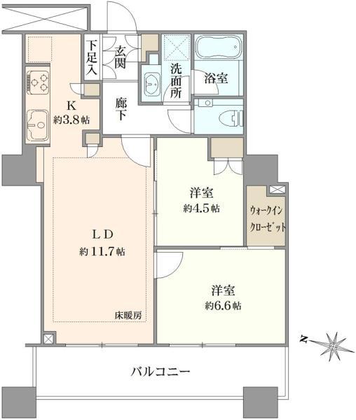 ブリリア大井町ラヴィアンタワーの間取図/24F/7,580万円/2LDK/60.87 m²