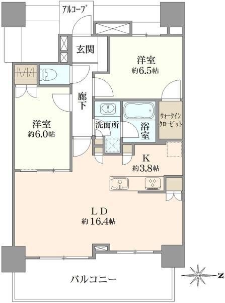 ブリリアタワー品川シーサイドの間取図/9F/4,880万円/2LDK/70.62 m²