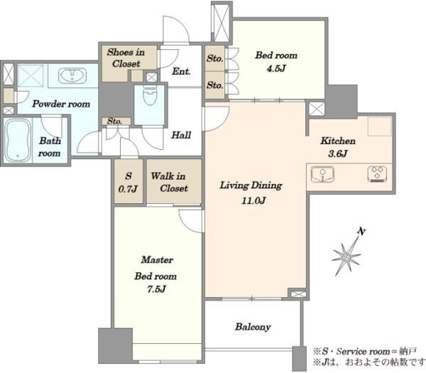 Brillia WELLITH月島 ブリリア ウェリス月島の間取図/6F/6,990万円/2LDK/68.84 m²